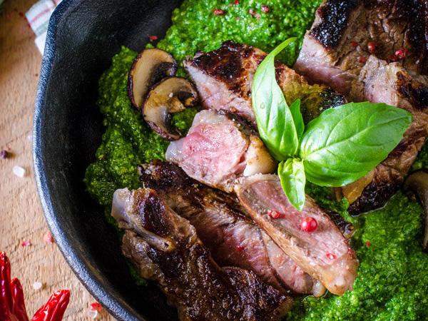 Grilles Steak over Pesto